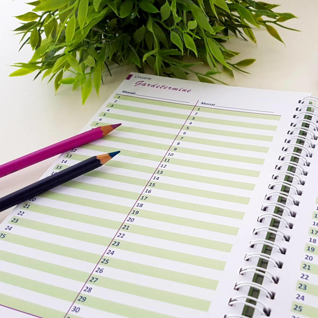 Offener Terminkalender: Die Monate kannst du selbst eintragen