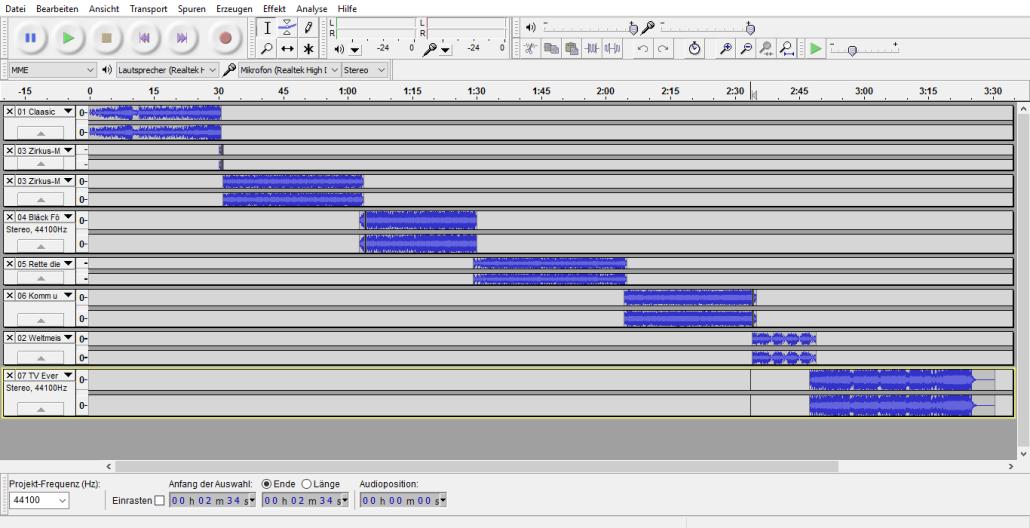 Screenshot des Musik-Schnitt-Programms Audacity