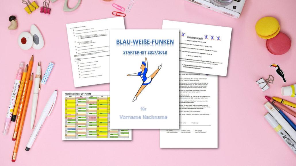 Starter-Kit für die Tänzerinnen mit verschiedenen Briefen, Terminlisten und der Regelnübersicht