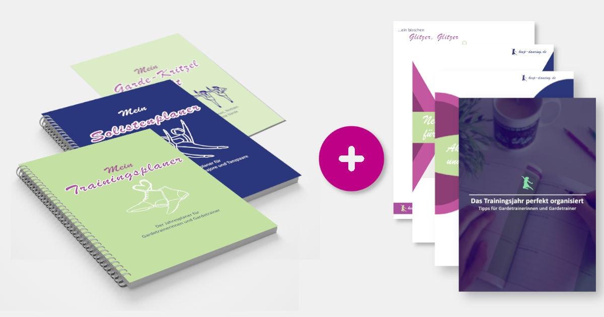 Das Premiumpaket: Der Trainingsplaner für Gardetrainerinnen und Gardetrainer, der Solistenplaner, das Garde-Kritzelheft sowie die PDFs