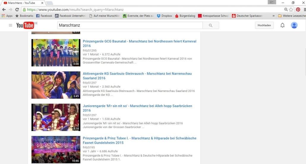 Screenshot von Marschtänzen auf Youtube